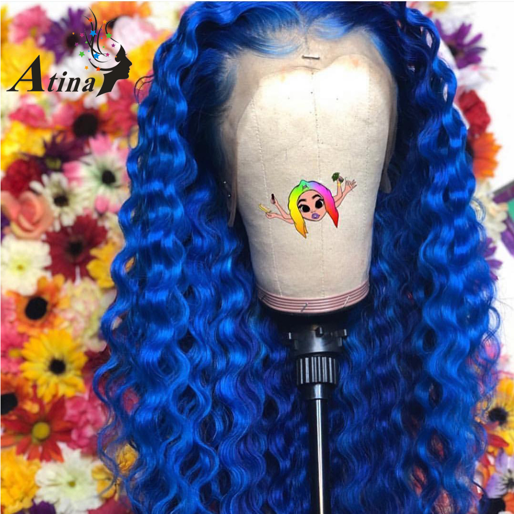 Colored Wigs 13X6 Deep Part Blue Lace Front Human Hair Closure Frontal Wig Water Wave 613 Blonde Preplucked Remy For Black Women