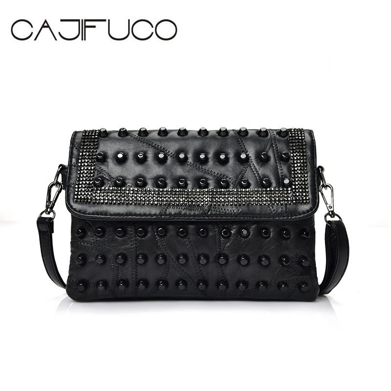 CAJIFUCO European American Style Studded Cross Body Bags Metal Rivet Day Clutch Lambskin Flap Bag Cool Spikes Shoulder Bag все цены