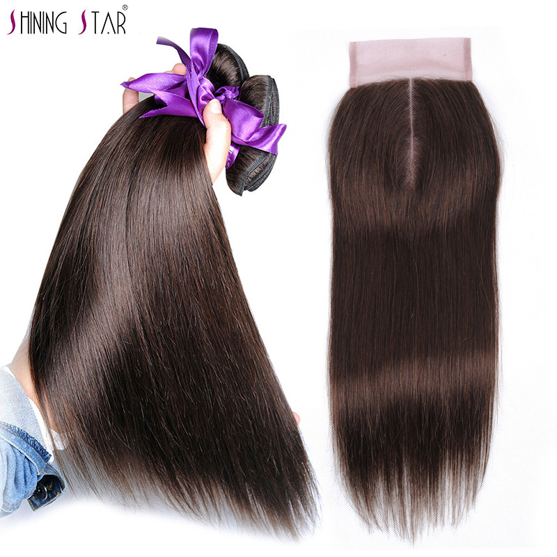 Light Brown Color 4 Human Hair Straight 3 Bundles With Closure Peruvian Hair Bundles With Closure
