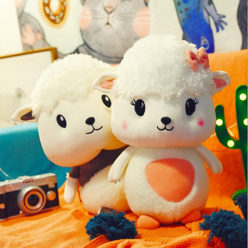 WYZHY New creative cute soft small Meng sheep doll plush toy sofa bedroom decoration send friends children gifts 50cm in Stuffed Plush Animals from Toys Hobbies