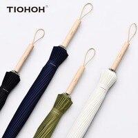 Tiohoh 24K Maple Umbrella Rain Women Men Solid Color Telfon Pongee Cloth Waterproof Long Handle Umbrellas Windproof Paraguas
