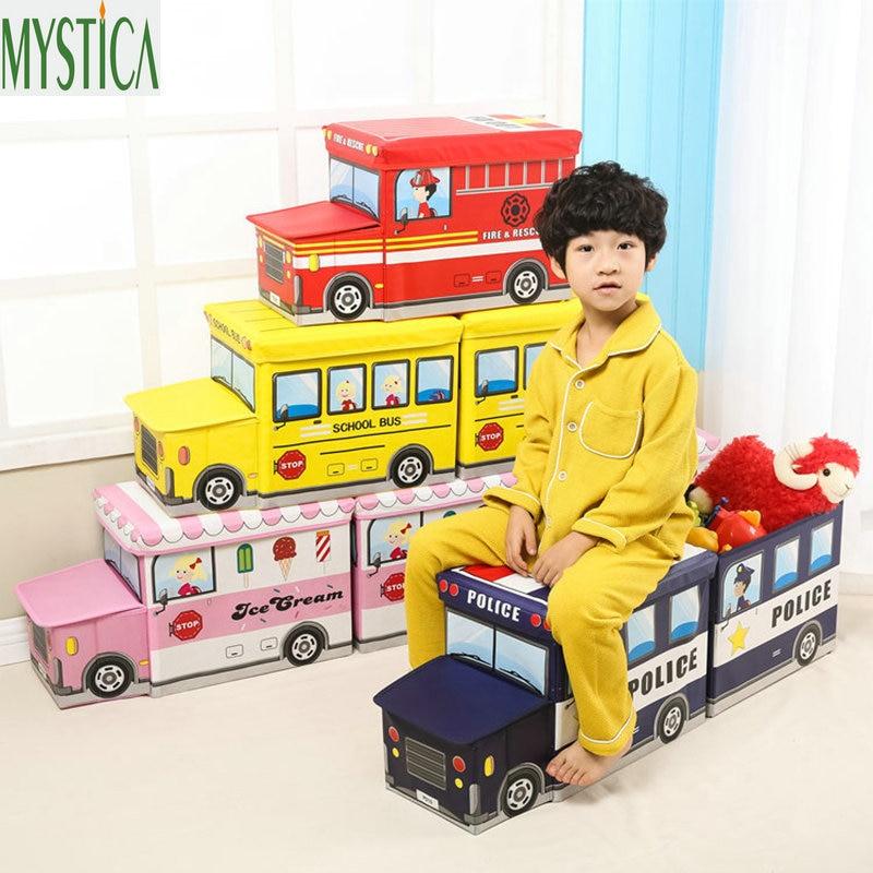 Home Bus Shape Clohtes Storage Box Folding Cartoon Car Toy Book Organizer Case Holder Non Woven Fabric Children Storage Basket