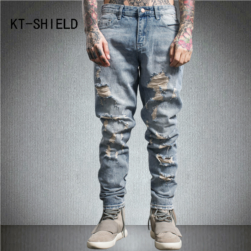 где купить Autumn men casual trousers fashion Embroidery hip hop pants hombre Holes ripped biker straight Denim jeans homme calca masculina дешево