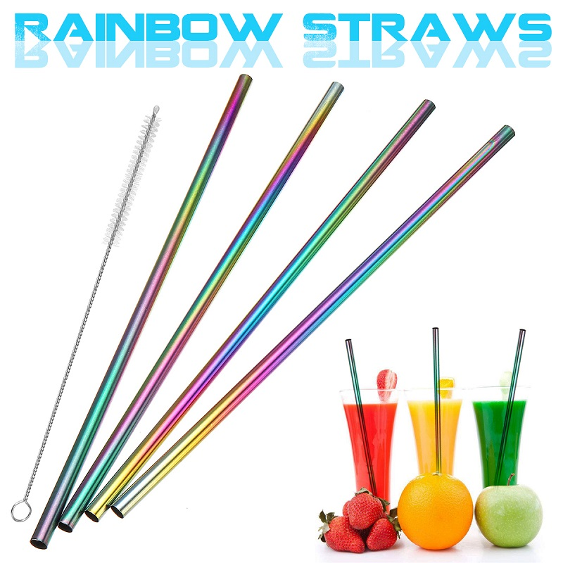 4pcs Colorful Stainless Steel Reusable Straws Suitable For Home And Restaurant 1