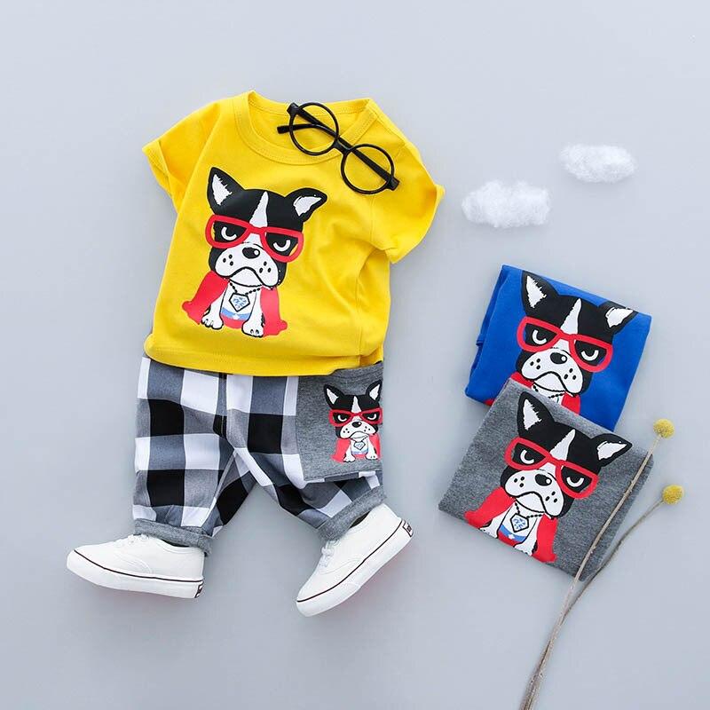 KINE панды одежда для маленьких мальчиков комплект летней одежды футболка + короткие штаны спортивные костюмы 2 шт. 0-1-2-3Y ...