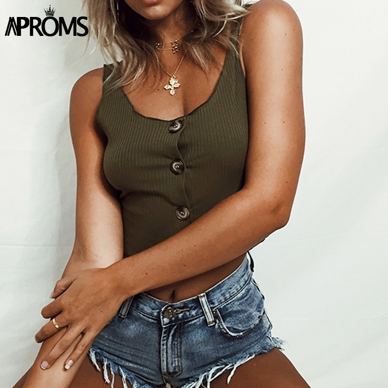 Aproms White Ribbed Tank Tops Women Casual Sleeveless Buttons Up Basic Crop Top Cool Girls Streetwear Stretched Cropped Tees