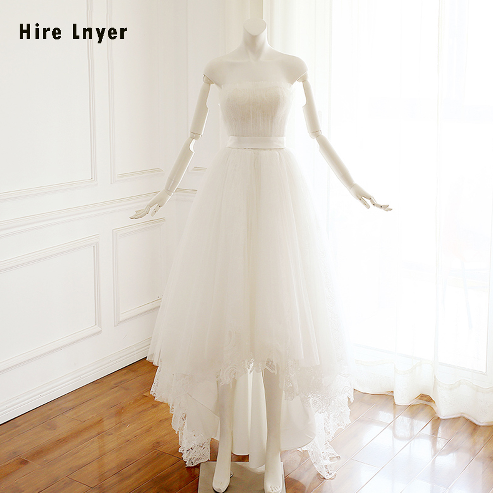 HIRE LNYER Custom Made Strapless Pleat Lace Tulle High Low Bridal Wedding Dresses With Sashes Aliexpress Login Robe De Mariage
