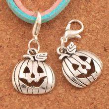 Halloween Pumpkins Lobster Claw Clasp Charm Beads 32.3x15.9mm 22PCS Antique silver Jewelry DIY C1098