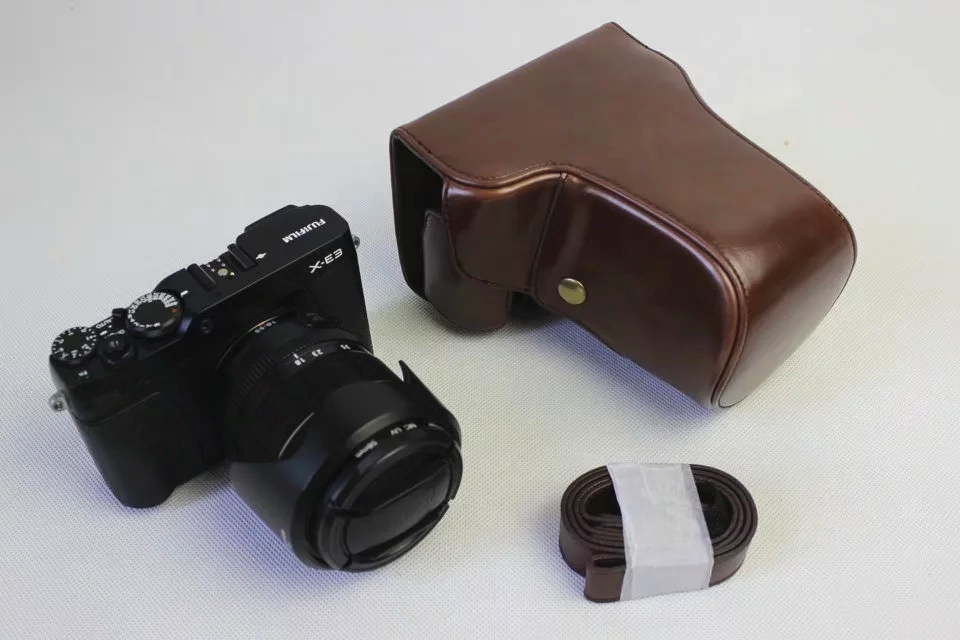 Retra Vintage Leather Digital Camera Bag Case for Fujifilm XE2/XE3 X-E3 16-50 18-55mm Cover with Strap High Quality