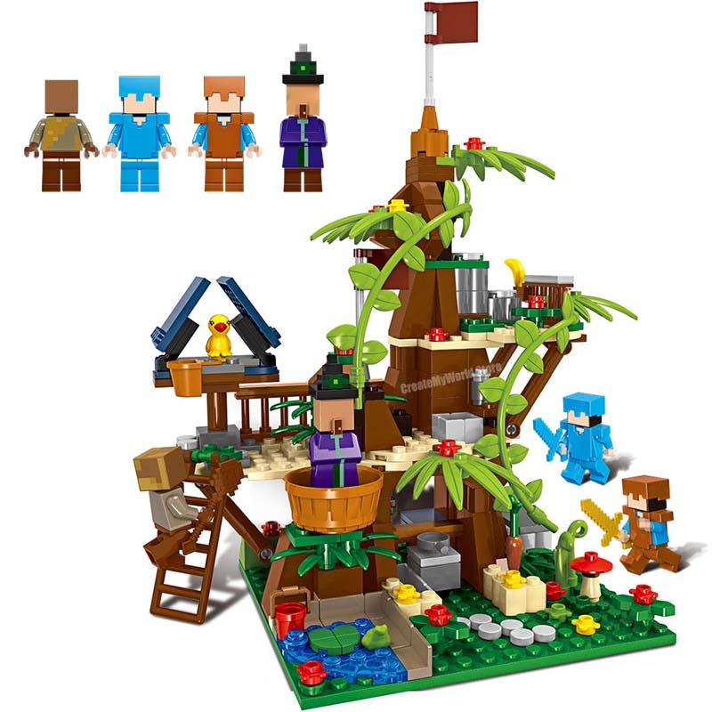 My World Compatible With LegoINGLYS Minecrafted Sautus Forest Tree House Building Block Bricks DIY Christmas Gift Toys 4 in 1 my world figures toy building blocks compatible with legoinglys minecrafted city 4 in 1 diy garden bricks toy gift for kid