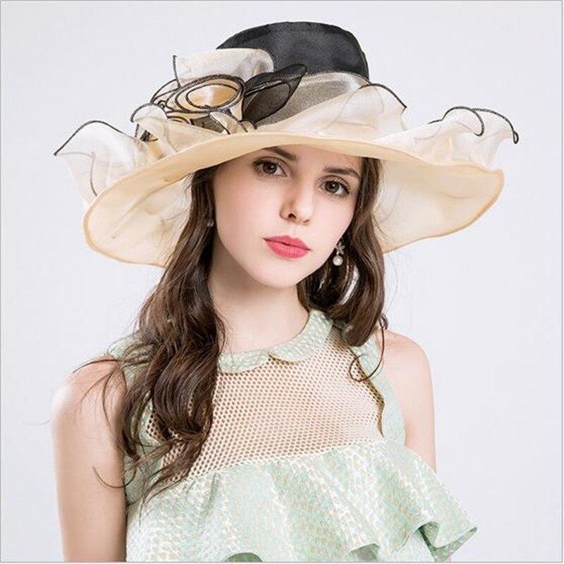 Femme Lady église mariage Kentucky Derby Floral Sun Chapeaux Cap Organza Large Bord