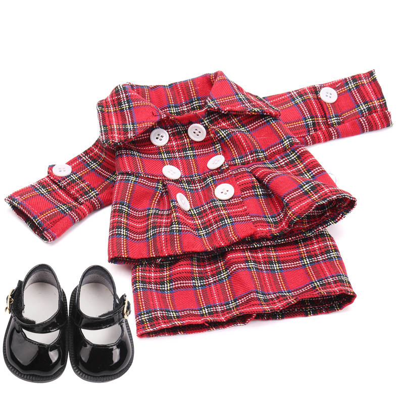 18 Inch Girls Doll Dress Multi-style Suit Skirts With Shoes American New Born Clothes Baby Toys Fit 43 Cm Baby Dolls C1