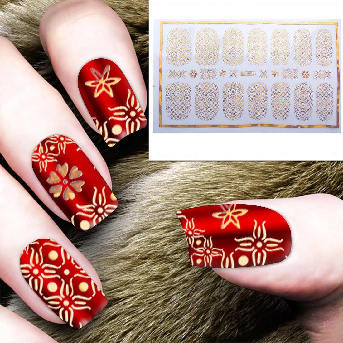 1 feuille autocollants pour doigts géométriques en forme d'étoile de vigne en forme de flocon de neige autocollant pour ongles en or fleur en métal 3D couverture complète en papier scintillant