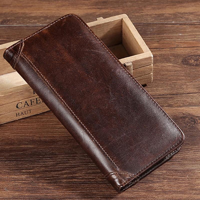 THINKTHENDO Men's Split Leather Long Wallet Bifold Money Card Holder Clutch Purse Slim Hot zelda wallet bifold link faux leather dft 1857