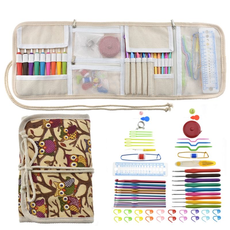 Multi-color Knitting Crochet Tool Set With Owl Bag 63 Bearded Needle For Cross Stitch Home Embroidery Thread DIY Gift Accessory