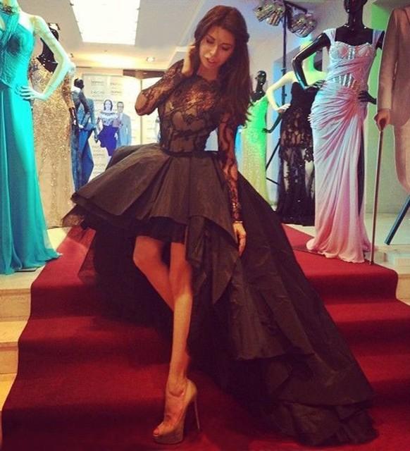 2016 Sexy preto Puffy alta baixa vestidos de baile preto longo mangas trem Illusion Sheer pescoço vestidos de festa vestidos de noite