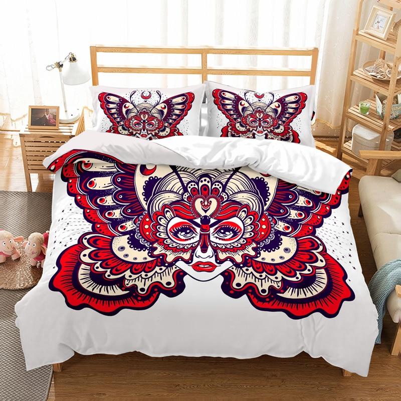 butterfly skull 3D Digital bedding set AU US EU 13 Size comforter bedding sets duvet cover Pillowcases bedclothes bed linen in Bedding Sets from Home Garden