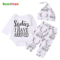 Long Sleeve 2017 Newborn Clothing Girl Boy Letter Antlers Romper Jumpsuit Pants Hat 3pcs Baby Coming