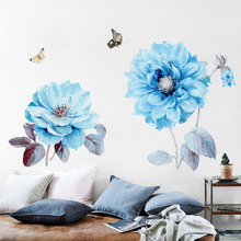 New 5D wall stickers Blue flowers PVC removable waterproof DIY TV backdrop decorative painting creative wallpaper