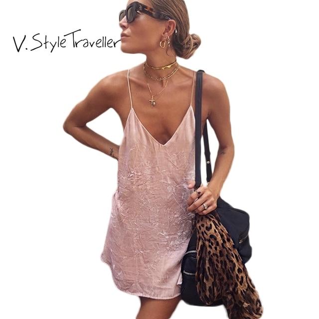 Summer Style Velour Slip Dress Women Casual ukraine vestido de festa Cheap Clothes China Sexy Boho Velvet Pink Camis Dresses E