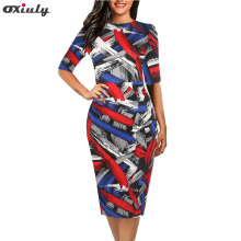 Oxiuly Vintage Contrast Color Striped Wear to Work Knot vestidos Bodycon Office Business Sheath Women Dress