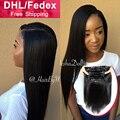8А бразильский прямо клип в наращивание волос клип в выдвижений человеческих волос прямой черный клип на наращивание волос прямой человеческих волос