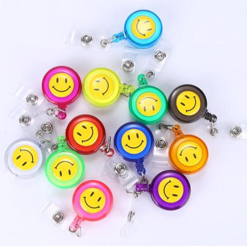 High Quality 20pcs Retractable Lanyard Reel Strap Pull ID Card Badge Tag Clip Holder Hospital Office Favor Smiling Face