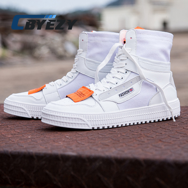 b318201269 2018 New Arrival High Top Sneakers Canvas Shoes Men Skateboarding Shoes  White Flat Male Basket Lace Up Solid Trainers Chaussure