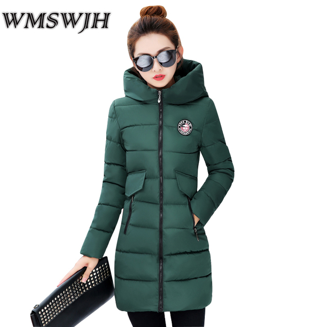 eecfb58860a5 2018 Fashion Winter Women Coat Warm Down Cotton Padded Jacket Thick Hooded  Outwear Slim Parkas Female Medium-long Coats
