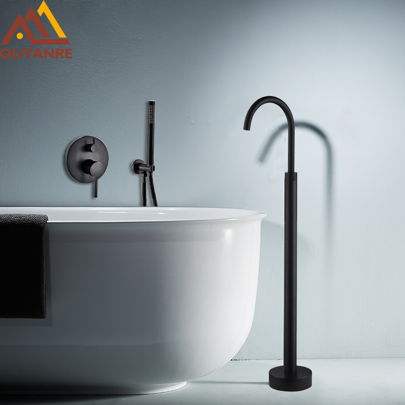 Black Bronze Shower Faucet Floor Standing Spout With Wall Mount Concealed 2-way Mixer Tap Handheld Shower Bathtub Shower Faucet