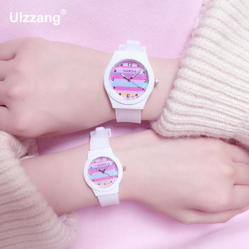 Lovely Cute Girls Quartz Wristwatch Unique Rainbow Candy Colors Rubble Women Fashion Leisure Watch Students Clock