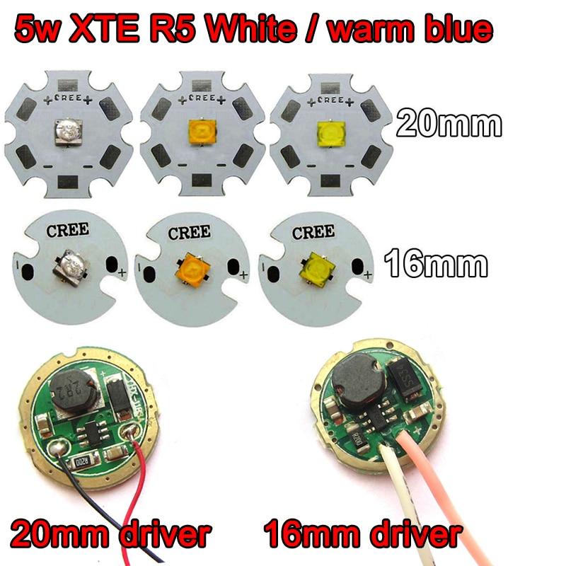 1pcs Original Cree XTE XT-E R5 5W Cool / Warm / Neutral White / Blue LED Bulb Chip+ 1.5-4V 16mm / 20mm LED Flashlight Driver