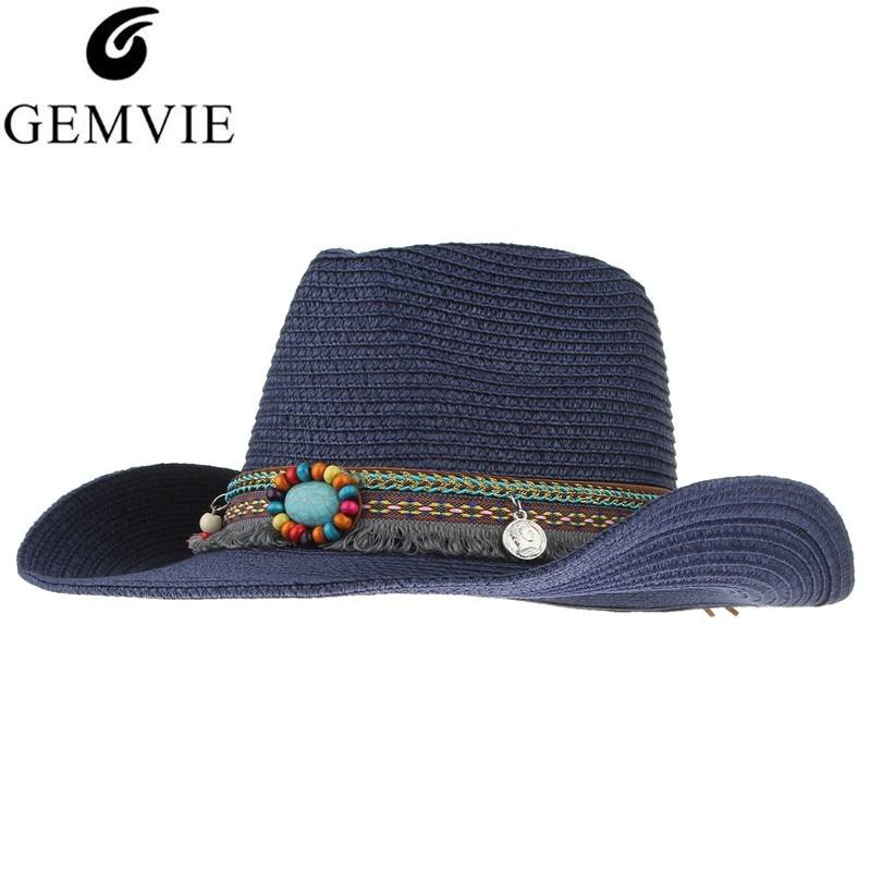 Էթնիկ ձեռագործ տրիկոտաժե ծղոտե գլխարկ Կանանց տղամարդիկ ամառային գլխարկներ Western Cowboy Hat Jazz Church Cap Sombrero Cap Sunhats