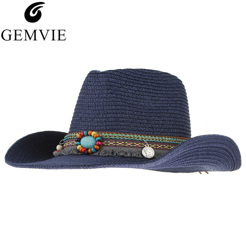 Hecho a mano étnico hecho punto sombrero de paja mujeres hombres sombreros de verano Western Cowboy Hat Jazz iglesia Cap Sombrero Cap Sunhats