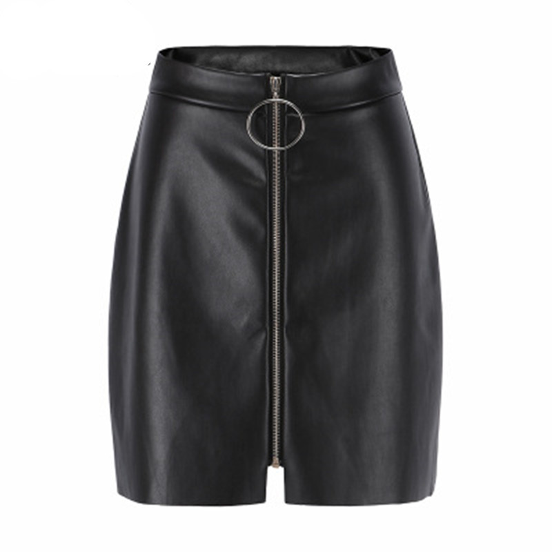 Casual Women Skirt Slim PU Leather Black Female Mini Skirt Faux Leather Lady A-line Skirt