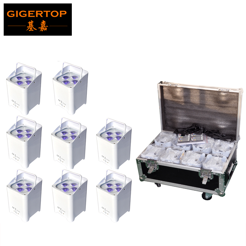 Discount Price Charging Flight Case 8in1+8XLOT Infrared 4x18W 6in1 Wireless Battery Led Par Light DMX6/10 Channels No Work Noise