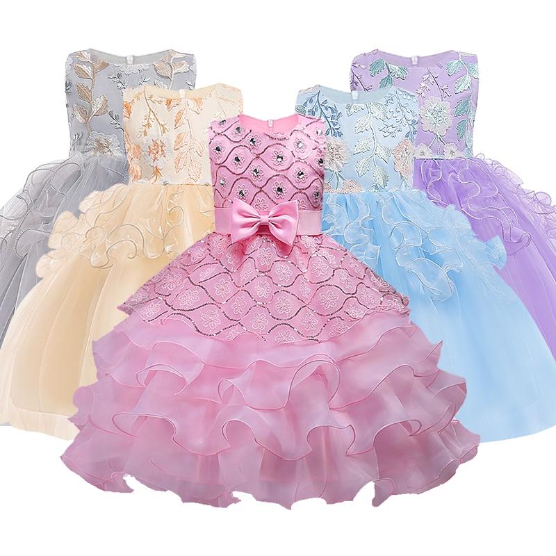 цветок платья для девочек для новый год одежда вечерние без рукавов дл