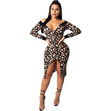 Long sleeve dress woman 2019 new sexy zipper v-neck print fashion leopard women dress plus size bandage dress bodycon dresses sexy scoop neck mesh splicing leopard print bodycon dress for women