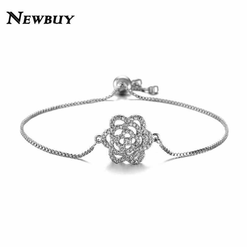 NEWBUY אופנה ברור AAA + מעוקב Zirconia תכשיטי כסף/זהב צבע הולו פרח סגולה צמידים לנשים ילדה נקבה מתנה