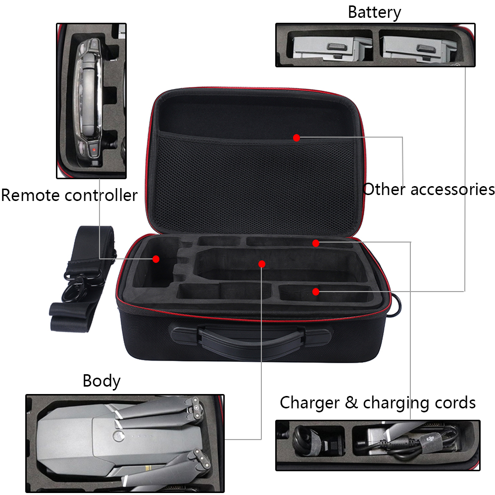 2017 Hard Carrying Box Hardshell Suitcase for DJI Mavic Pro Drone, Charger, Propellers And Accessories Shoulder Waterproof Box