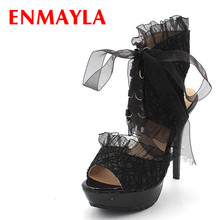 ENMAYER  designer high-heeled shoes summer cut out black lace heels sandals for women free shipping high