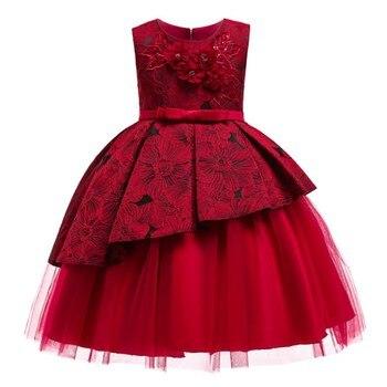 482f7f4e7 Niños bebé niña pétalos de flores Vestido de Niños de niño Vestido elegante  Vestido Infantil Formal Vestido de fiesta rojo vino