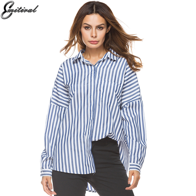 a91f0d9b775fe9 2017 Long Sleeves Autumn Winter Blouses Women Vertical Stripe Female Tops  Casual Loose Large Big Size Shirts Office Blusas Tops