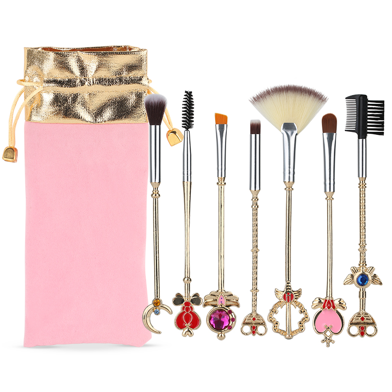 BBL 7pcs Makeup Brush Anime Sailor Moon Kawaii Star Moon Space Magic Brush Set Metal Handle Sakura Eyeshadow Lip Brush Best Gift