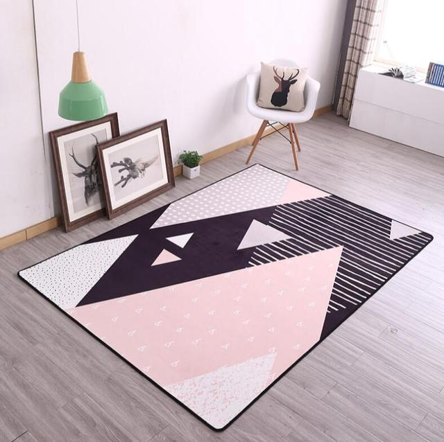 INS European 100x160cm Popular Thicken Soft Kids Room Play Mat Modern Bedroom Area Rugs Large Pink Carpets for Living Room