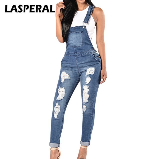 Lasperal Casual Denim Jumpsuits Women Fashion Ripped Blue Casual