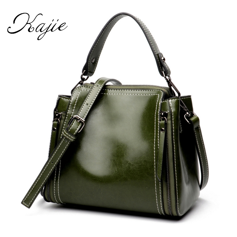 2018 Vintage Ladies Genuine Leather Handbags Retro Small Oil Wax Shoulder Messenger Bags Designer Tote Crossbody Bags For Women fashion women genuine leather handbags large capacity tote bag oil wax leather shoulder bag crossbody bags for women