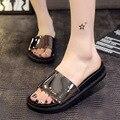 2017 лето марка серый черный низком каблуке прохладный платформы женщин тапочки пляжная обувь