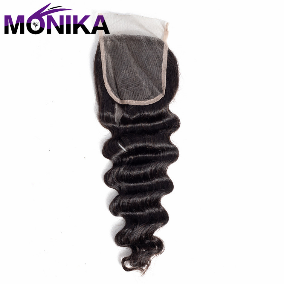 Monika Brazilian Hair Loose Deep Wave 4*4 Lace Closure Swiss Lace Non Remy Human Hair Closure Natural Color