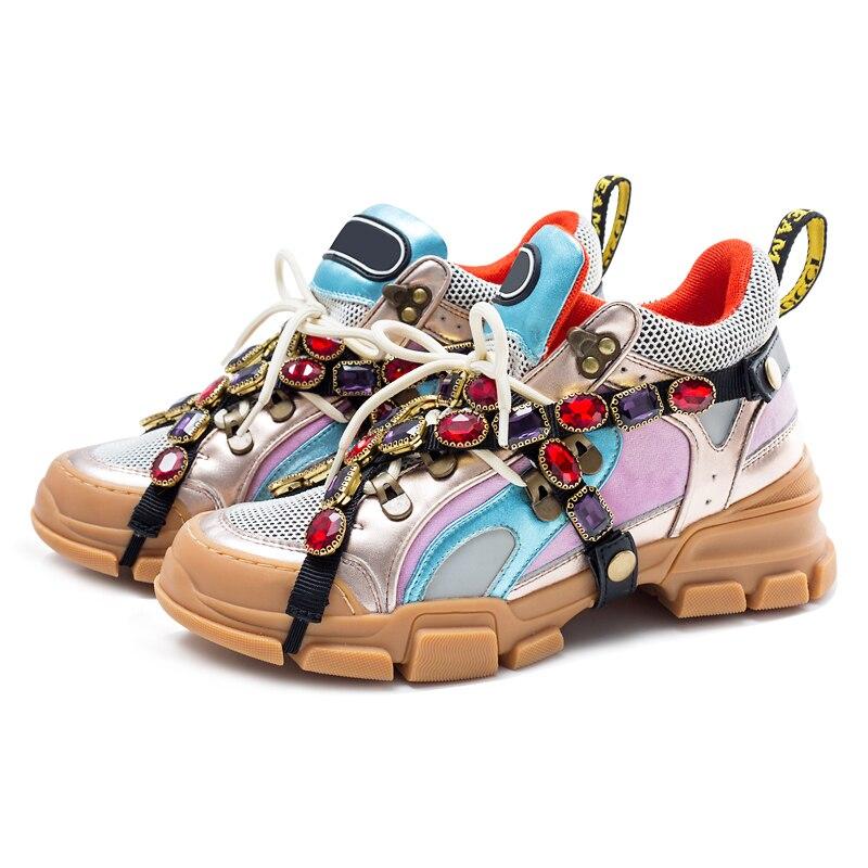 Cour Cristal Femme Mélangée Sneakers Antidérapant Luxe As Épais Chaussures Show Plate Couleur Cuir Respirant Fond as Appartements Strass Show En De forme Tw7I4xEw